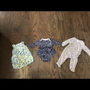 LOT OF 3 Newborn Nordstrom Baby Girl Outfits